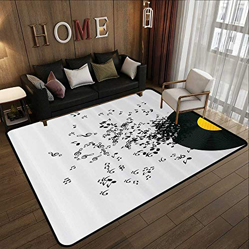 Carpet Flooring,Music Decor,Abstract Music Illustration Flying Music Notes Disc Album Dancing Nightclub,Ivory Black and Yellow 59