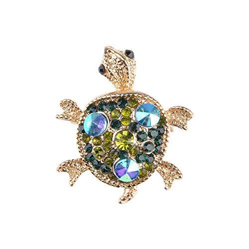 (WEKA Jewelry Turtles Tortoise Brooch Pins Women Fashion Rhinestone Alloy Brooches Pins (Green))