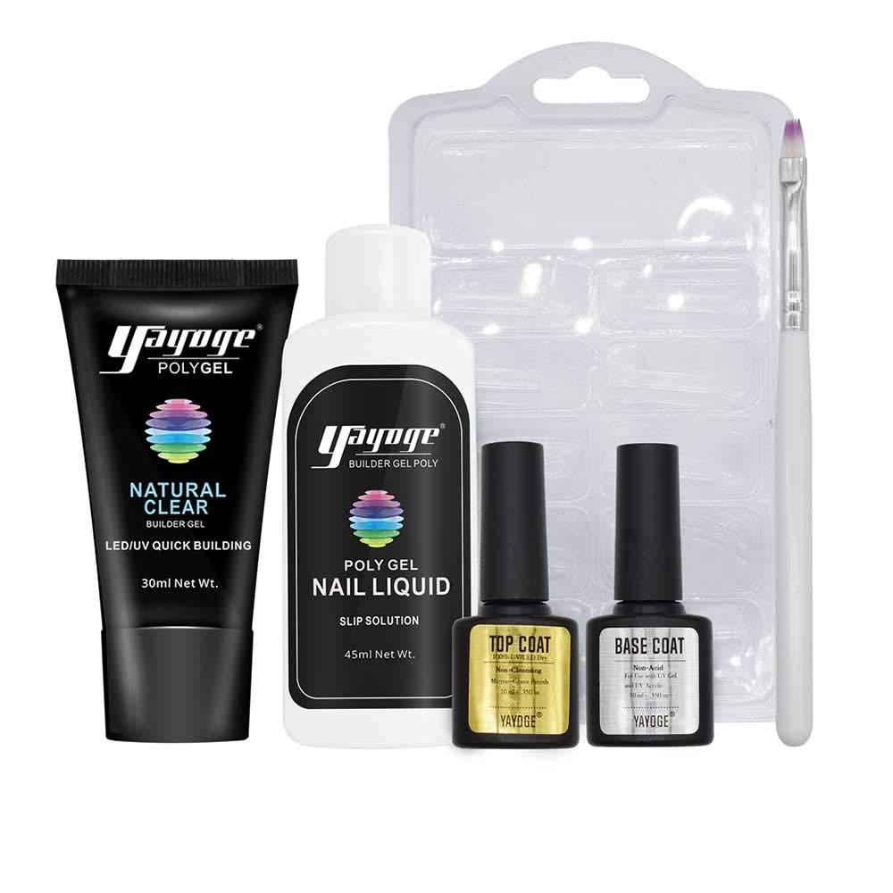 Yayoge Poly Gel Nail Kit Nail Builder Gel 30ml Clear UV LED Quick Extension Gel Varnish with Base Coat Top Coat Manicure Tools for Nail Extensions Nail Art DIY Salon and at Home (Clear) by Yayoge