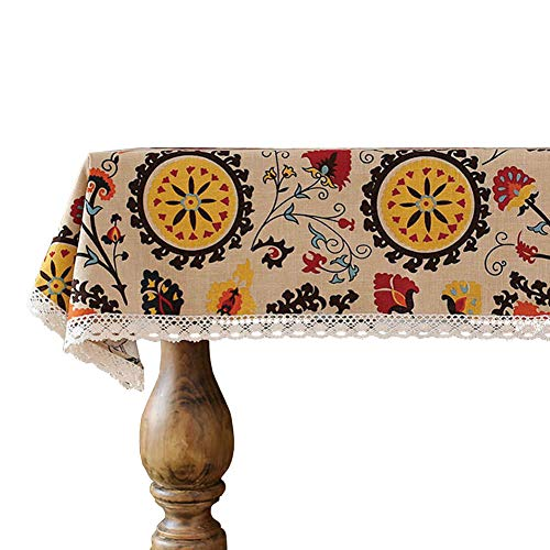 lelehome Antique Sunflowers Floral Tablecloth Durable Cotton Vintage Laciness Linen Embroidered Washable Dinner Picnic Table Cover(55.1X55.1IN) ()