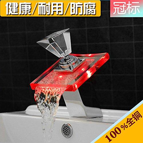 AQiMM Waschbecken Wasserhahn Bad Armatur Licht Emittierende Glas Mit Heißem Und Kaltem Wasser Waschtischarmatur Badezimmer Waschbeckenamatur