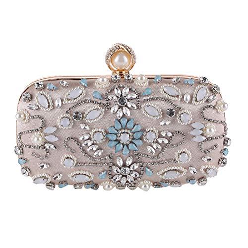 Ladies Crossbody Luxury Crystal Purse Wedding Evening Bag Beaded Apricot Clutch Women Bridal Noble Handbag BBwxnqrva