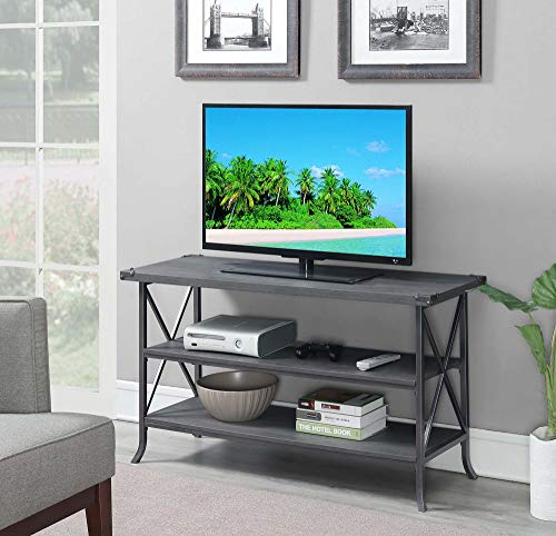Convenience Concepts 111848CGY Brookline TV Stand, Charcoal Slate Gray Frame