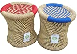 Ecowoodies Lace HandiCraft Cane / Wooden Breakfast Kitchen Pub High Chair Garage Game Room Home Bar Kitchen Counter Indoor/outdoor Bar Stool Cafeteria Restaurant chair ( Set of 2 Stools)