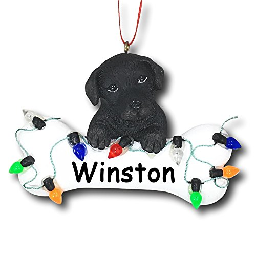 Kurt Adler Personalized Black Labrador Retriever Dog Breed and Dog Bone with Colorful Christmas Lights Detail Hanging Christmas Tree Ornament with Custom Name - 3 inches