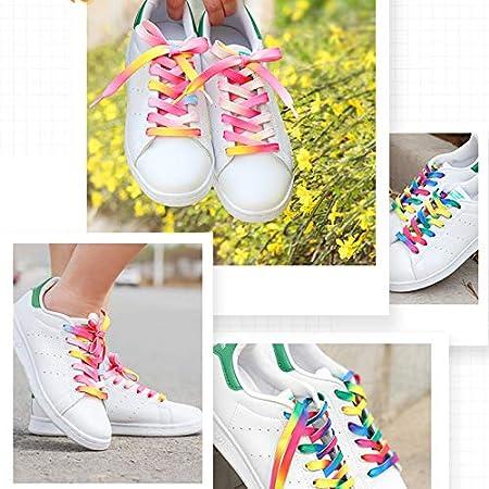 Maoran Cordones para Zapatos Adultos y ni/ños Planos Cordones Anchos Coloridos para Zapatos Deportivos Planos 0.8cm*80cm Mujeres Azul para Hombres arco/íris