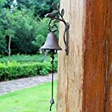 HIZLJJ Outdoor Wall-Mounted Fountains Heavy Duty Cast Iron Wall Bell Featured on an Antique Vintage Rustic Farmhouse Bracket Classic Cabin Metal Mount for Indoor Outdoor Decoration Classic Sculpture 1