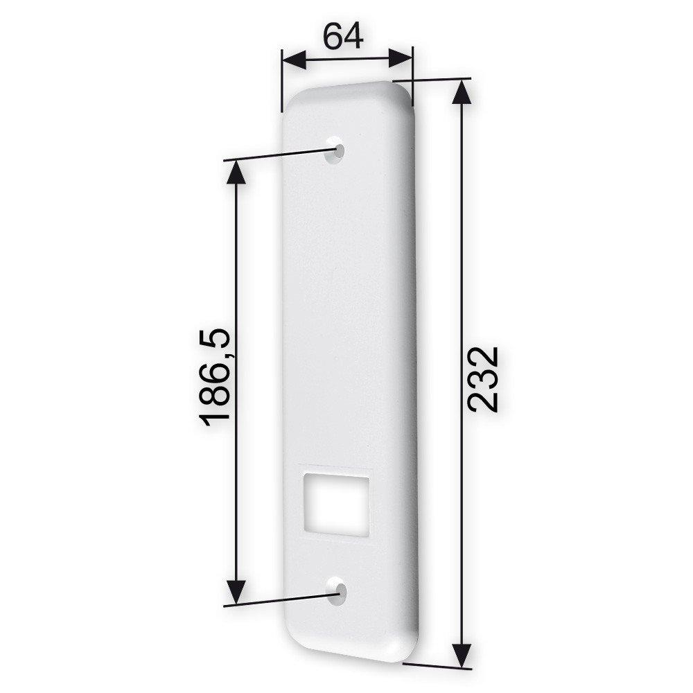 Deckplatte f/ür Einlass-Gurtwickler L Lochabstand: 186 mm von EVEROXX Abmessungen: 232 x 64 x 8 mm Farbe: wei/ß f/ür Gurtbreite: 23 mm abgerundet
