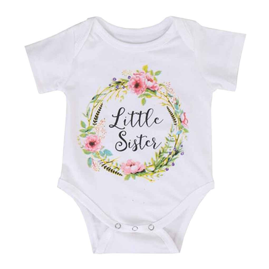 Mengonee Cotton Cute Baby Girl Big Sister Tops Little Brother Sister Rompers Match Clothes Toddler Floral Jumpsuit