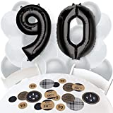 90th Milestone Birthday - Dashingly Aged to Perfection - Confetti and Balloon Party Decorations - Combo Kit