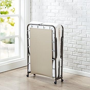 Zinus Folding Foam Guest Bed Frame with Wheels, Single