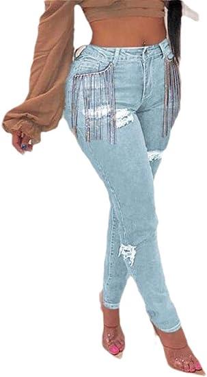 maweisong 女性の苦しんだジーンズは、破壊されたほつれたタッセルスキニーデニムジーンズパンツをリッピング