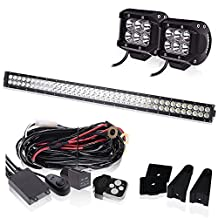 30 32 INCH LED Light Bar 18000LM 6000K Waterproof IP67 Flood Spot Combo W/ 2PCS Fog Lights + 3LEAD Wiring Harness Kit for Offroad Chevrolet Silverado GMC Dodge Ram Sierra Ford F-150 Jeep Toyota Truck