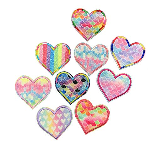 9 Pcs Love Pink Heart Iron on Embroidered Patches for Clothing Hat Bag Patch Sewing on Applique Stickers DIY Apparel Accessories Badge Sticker (Style 3 (9 pcs))