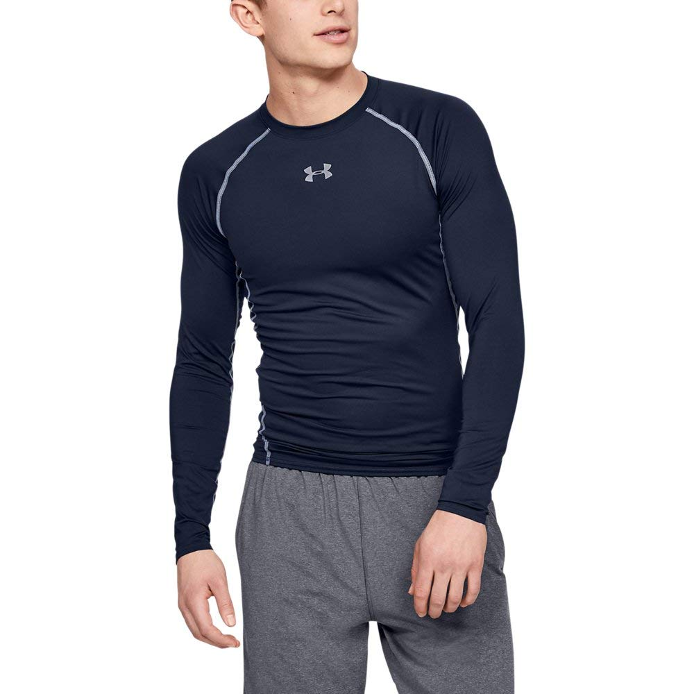 Under Armour Men's HeatGear Long Sleeve Compression Shirt, Midnight Navy (410)/Steel, Small