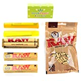 Raw Natural Unrefined Rolling Papers King Size Slim Value Bundle with King Size Papers, Rolling Machine, Filters, Doob Tube and Dank Paper Scoop Card