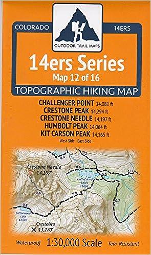 Colorado 14ers Maps Series 12 Of 16 Challenger Crestone Crestone