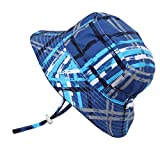 Cute Infant Baby Boy Quick Dry Sun Hat 50 UPF, Adjustable, Stay-on Tie (S: 0-6m, Blue Plaid)