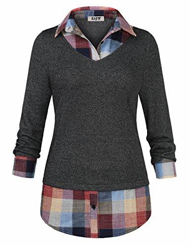 Women's 2-In-1 Style Shirt, DJT Plaid Lapel Collar Curved Hem Checker Pullover Sweatshirt T-Shirt Top L Dark Grey (Sleeve Collar Buttons Lapel)