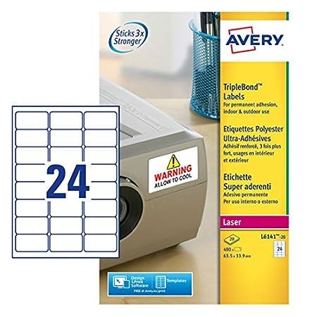 Amazon.com: Avery – Etiquetas súper adherentes (20 hojas, 24 ...