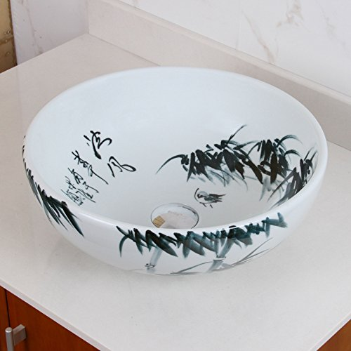 ELIMAX'S 2017 Oriental Bamboo Style Porcelain Ceramic Bathroom Vessel Sink