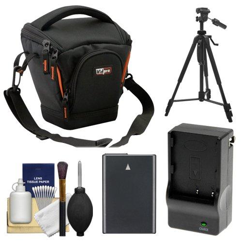 (Vidpro TL-25 Top-Load DSLR Camera Holster Case (Small) with EN-EL14 Battery & Charger + Tripod + Kit for Nikon D3300, D3400, D5300, D5500, D5600 Cameras)