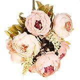 GODHL Artificial peonía seda ramo de flores para la casa de la boda ramo decoración rosa claro
