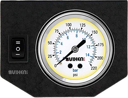 """Vixen Air One 2"""" Single Needle Air Pressure White Gauge with One Momentary Switch and Metal Dash Panel Kit VXF1GP1RKW"""