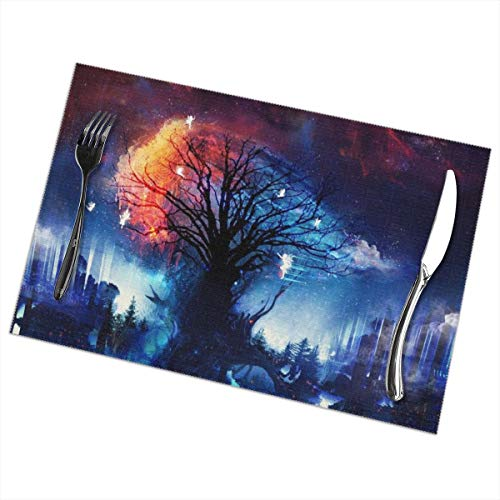 Placemats for Dining Table Set of 6 Fantasy Art Trees Wear-Resistant Heat-Resistant Kitchen Table Mats 18