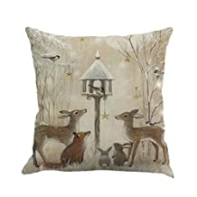 "Throw Pillow Cover, Kimloog Elk and Gifts Christmas Background Sofa Bed Home Decor Square Cushion Pillowcase 18x18 (1818"", B)"