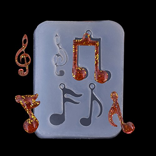 WYD DIY Handmade Music Symbol Earrings Pendant Casting Silicone Resin Mold Mold Crystal Beading DIY Jewelry Making Craft Cake Mold Tool (Star Earrings Resin)
