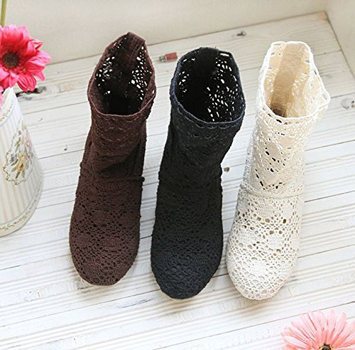 calf Hollow Lace Chunky Mid Summer Summer Heels Out Minetom Boots Crochet Boots Hollow Boots Autumn Women Black Ankle Ftpxq0wP