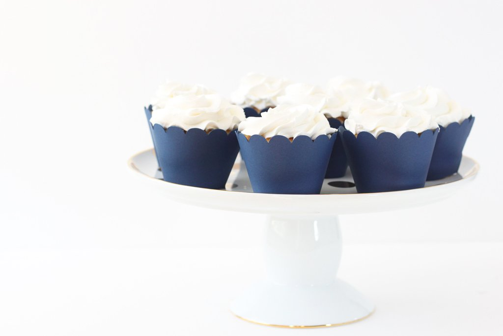 Navy Blue Cupcake Wrappers Navy Blue Party Supplies Cupcake Liners Boy Baby Shower Nautical Party 4th of July Boy Birthday Party