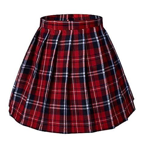 Women's School High Waist Pleated Plaid Skirts(2XL,Red) - Pleated Plaid Mini