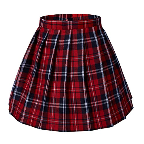 Plaid Skirt Red Pleated (Tremour Women's School High Waist Pleated Plaid Skirts(L,Red))