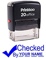 Printtoo Self Inking Rubber Stamp CHECKED BY Office Stationary Custom Stamp-Blue