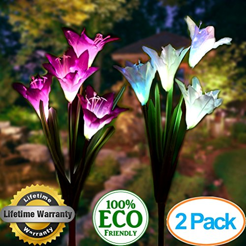 Solar Garden Stake Lights Outdoor,2 Pack Solar Powered Lights with 8 Lily Flower, Multi-Color Changing LED Solar Landscape Lighting Light For Decorating The Path, Yard, Lawn,Patio (White and Purple)