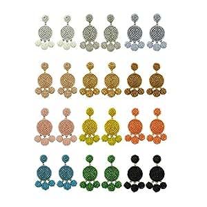 BOCAR Statement Beaded Dangle Earrings Bubble Drop Pendant Ball Soiree Stud Earrings for Women Girl Gift (ER-1087-black)