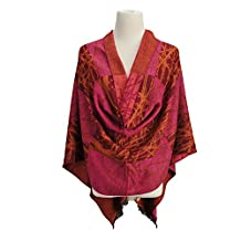 Womens Cold Weather Scarves Fashion Silk Blended Beautiful Pattern Fringed Shawl