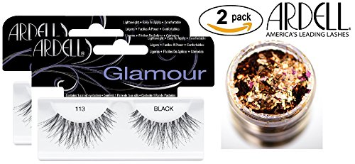Ardell Professional GLAMOUR Lashes (2-PACK with bonus Skin/Hair Glitter) (113 Black (2-PACK))