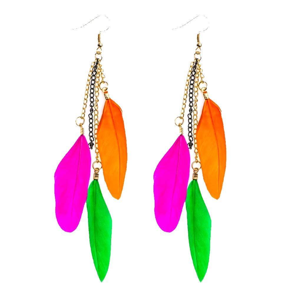 Fuchsia Hot Pink and a Vibrant Green with Antique Gold Chain Dyad Jewellery Bold Boho Feather Cascade Drop Earrings in Vivid Orange