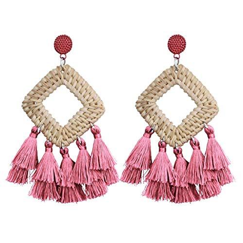 BEERICHH Lady Hoop Earrings Fashion Retro Handmade Rattan Tassel Dangle Drop Earrings Geometric Pendant Earrings Jewelry ()