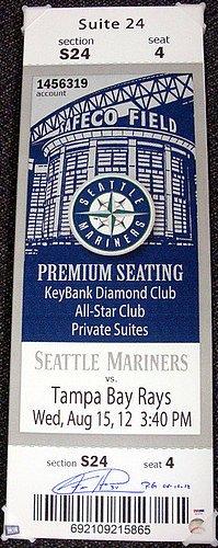 (Felix Hernandez Signed Mega Ticket Seattle Mariners PG 8-15-12 - Certified Genuine Autograph By PSA/DNA - Autographed MLB Baseball)