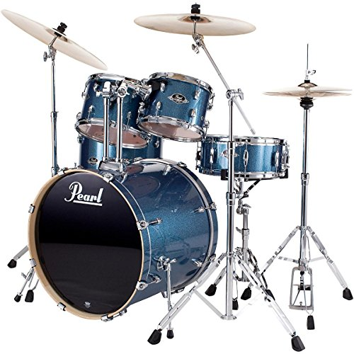 pearl-export-new-fusion-5-piece-drum-set-with-hardware-aqua-blue-glitter
