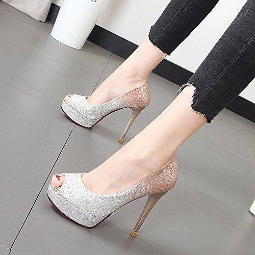 Xue Qiqi 12cm ultra-alta con boca de pescado zapatos finos de noche con zapatos de mujer color degradado Taiwán matrimonio Zapatos impermeables El Oro