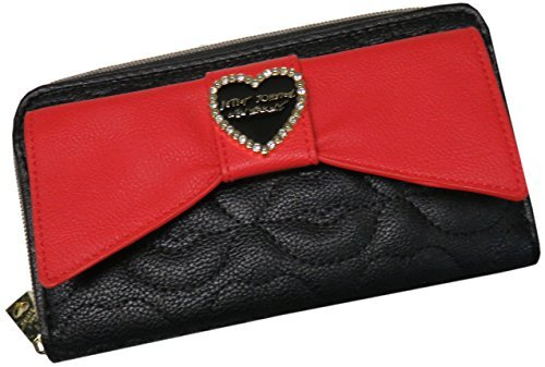 (Betsey Johnson Boxed Rose Quilted Large Bow Pocket Flap Zip Around Continental Wallet - Multi Black Pink )