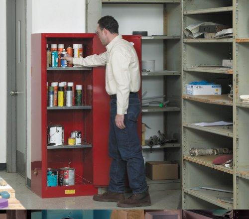 Justrite 892201 Sure-Grip EX Galvanized Steel 1 Door Manual Slimline Flammables Safety Cabinet, 22 Gallon Capacity, 23-1/4