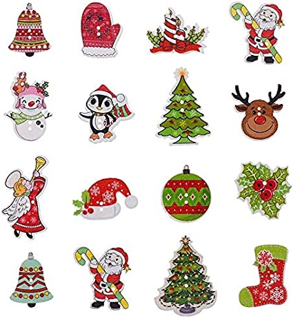 New 50pcs Merry Christmas Tree Wood Button Sewing Craft Mix Lots WB322