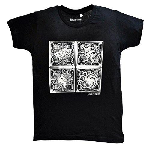 Schwarz Unisex T-Shirt Game of Thrones Kurzarm Schwarz Farbe Baumwolle Größe L