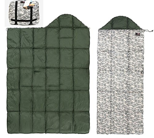 Us Military Cold Winter Down Sleeping Bag Camping Quilt Blanket Outdoor Khaki Left Zipper 1p by US MILITARY